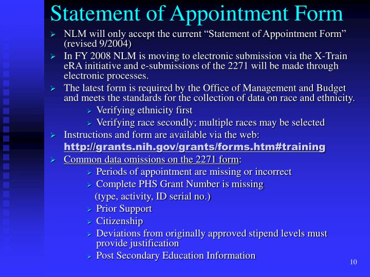 Statement of Appointment Form