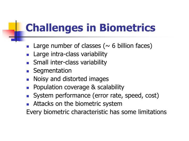 Challenges in Biometrics