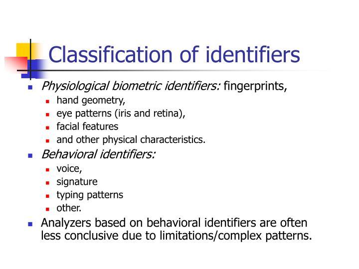 Classification of identifiers
