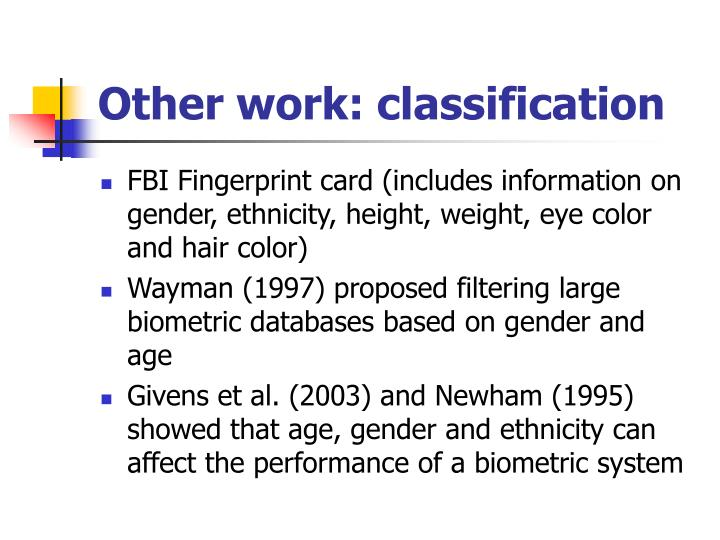 Other work: classification