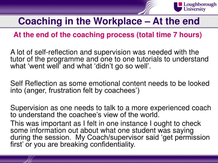 Coaching in the Workplace – At the end
