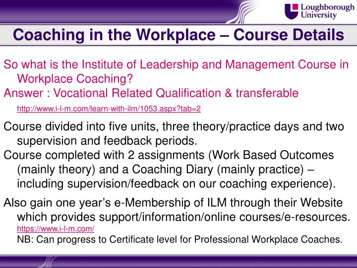 Coaching in the Workplace – Course Details