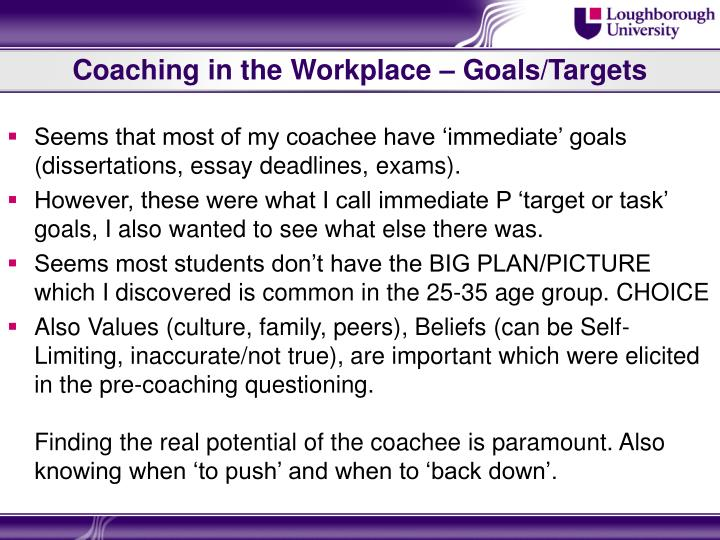 Coaching in the Workplace – Goals/Targets