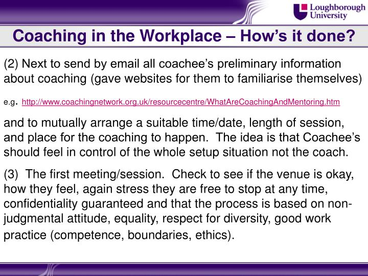 Coaching in the Workplace – How's it done?
