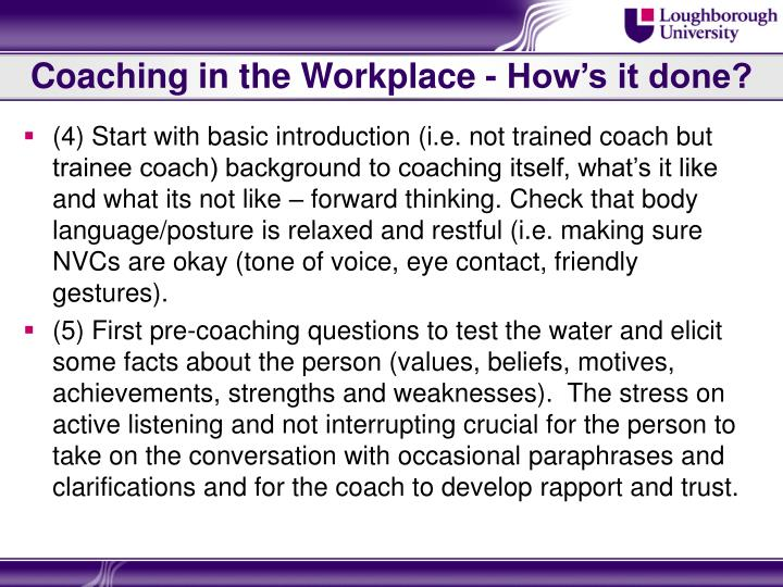 Coaching in the Workplace - How's it done?
