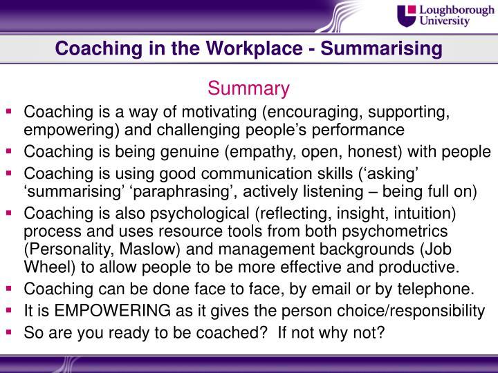 Coaching in the Workplace - Summarising