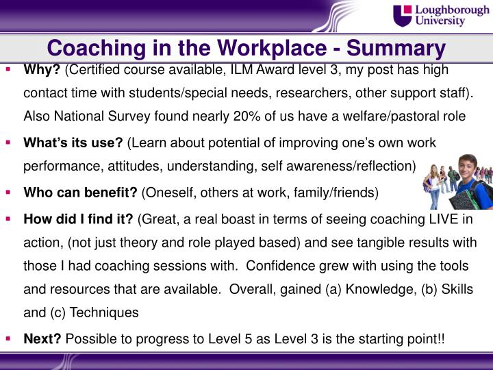 Coaching in the Workplace - Summary