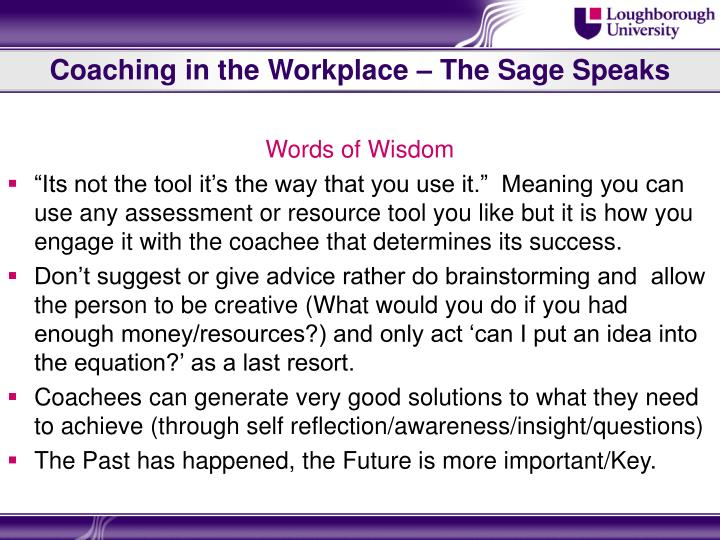 Coaching in the Workplace – The Sage Speaks