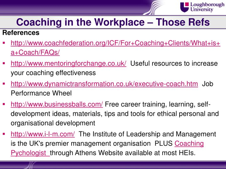 Coaching in the Workplace – Those Refs