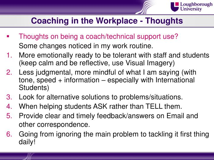 Coaching in the Workplace - Thoughts