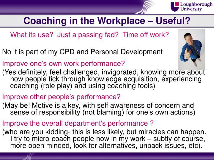 Coaching in the Workplace – Useful?