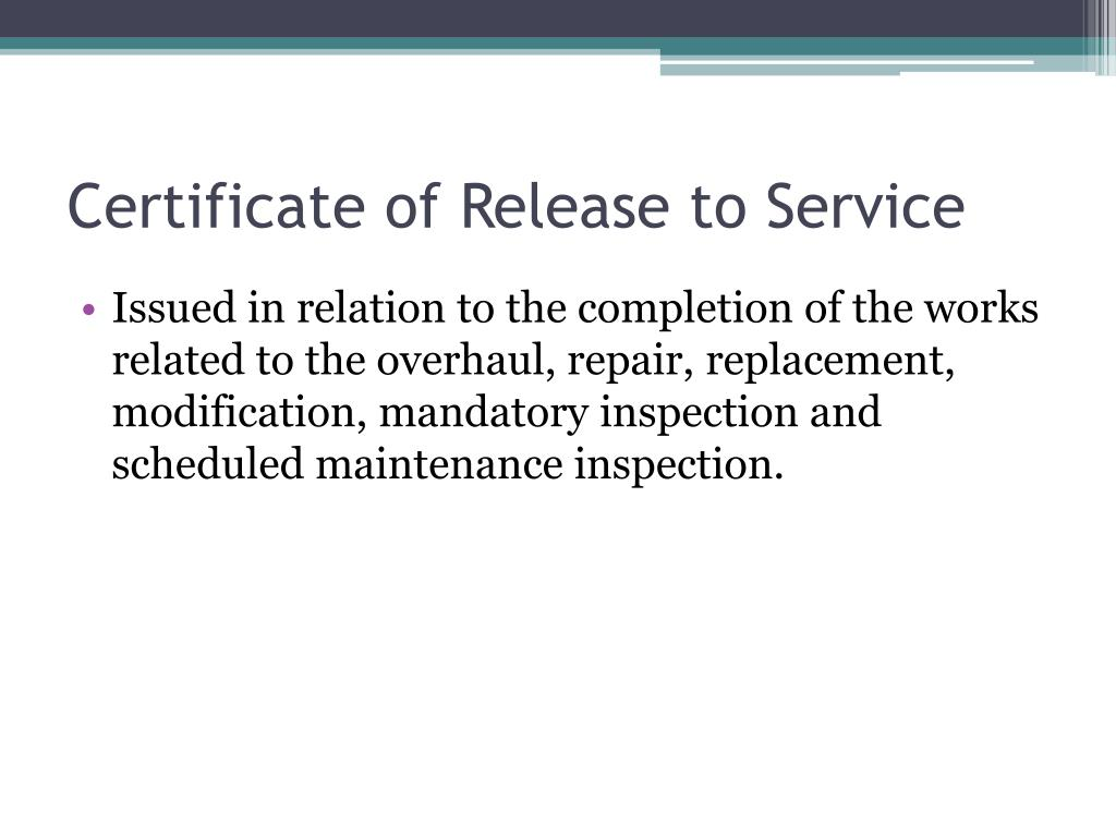 Certificate of Release to Service