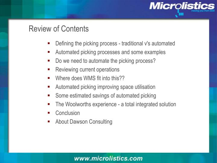 Review of contents