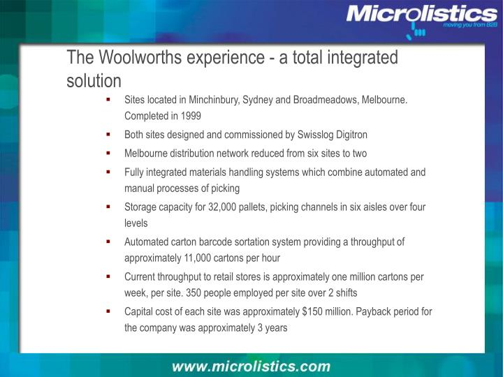 The Woolworths experience - a total integrated solution