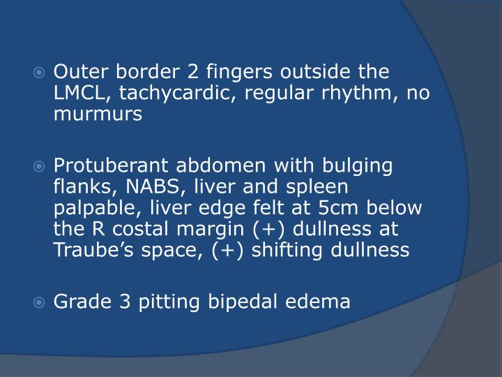 Outer border 2 fingers outside the LMCL,