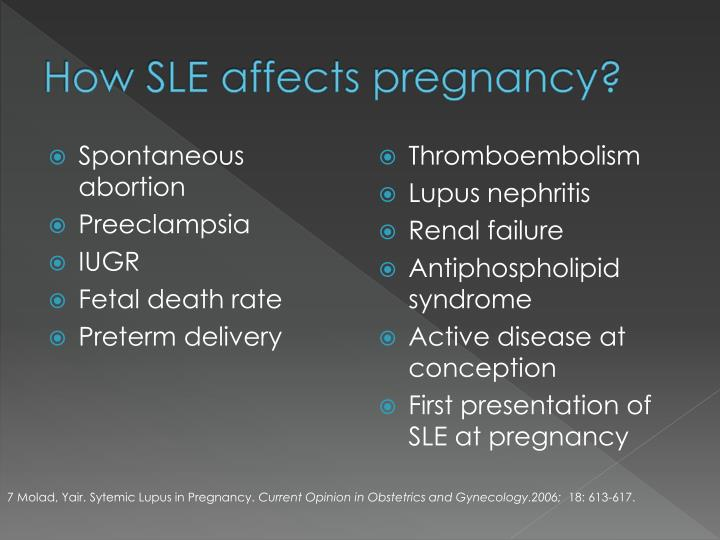 How SLE affects pregnancy?