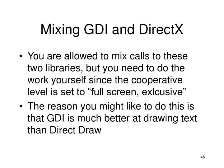 Mixing GDI and DirectX