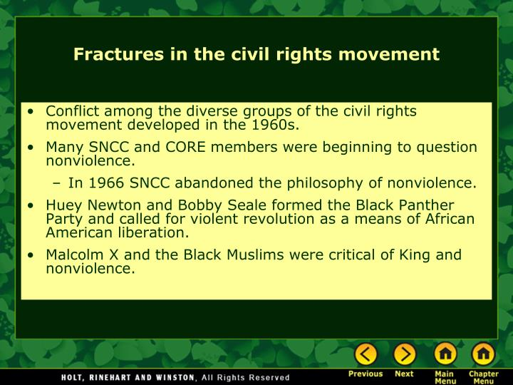 Conflict among the diverse groups of the civil rights movement developed in the 1960s.