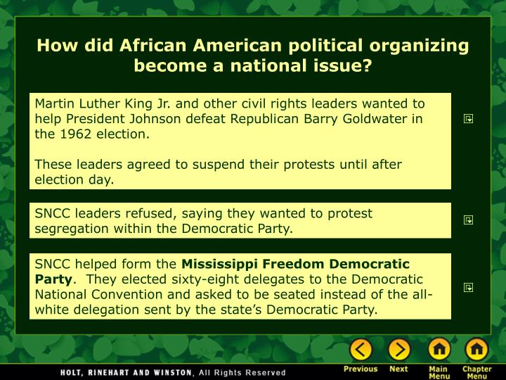 How did African American political organizing become a national issue?