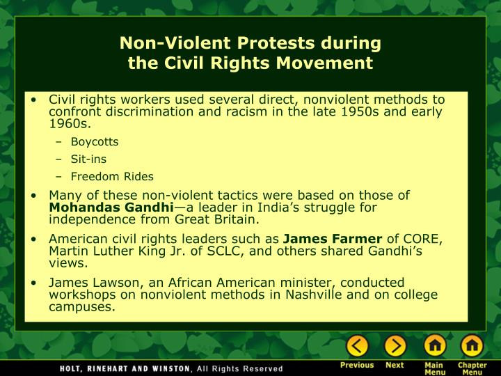 Civil rights workers used several direct, nonviolent methods to confront discrimination and racism in the late 1950s and early 1960s.