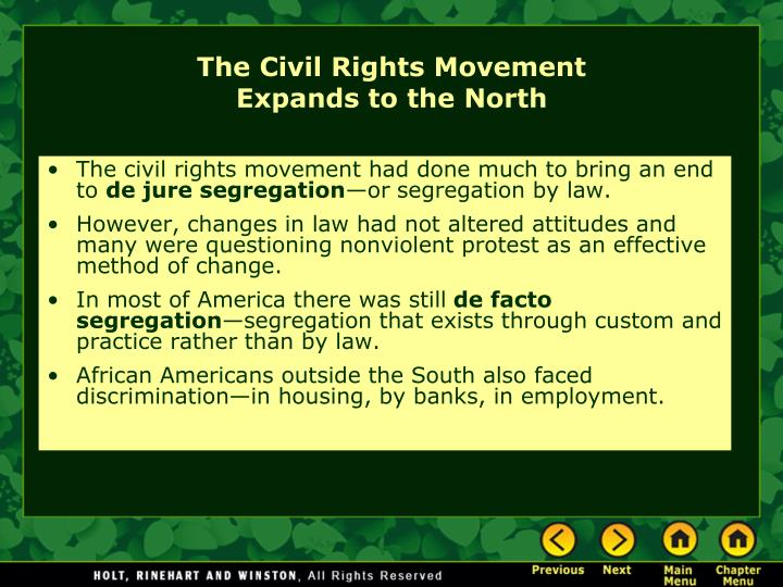 The civil rights movement had done much to bring an end to