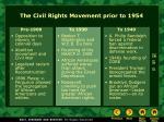 the civil rights movement prior to 1954