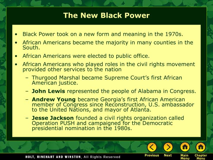Black Power took on a new form and meaning in the 1970s.