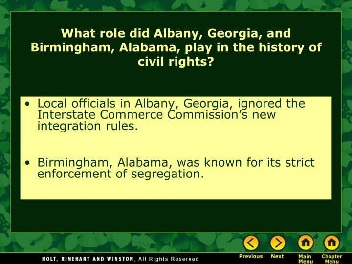 Local officials in Albany, Georgia, ignored the Interstate Commerce Commission's new integration rules.