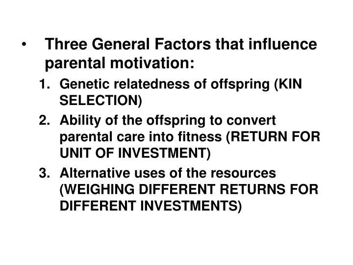 Three General Factors that influence parental motivation: