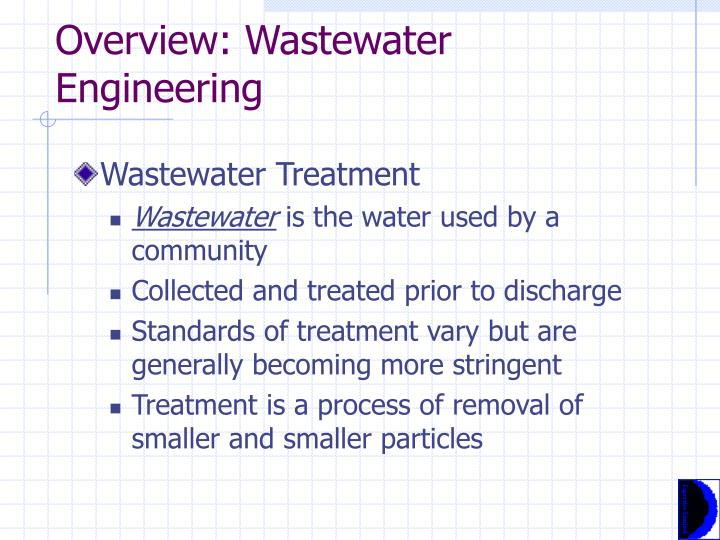 Overview wastewater engineering