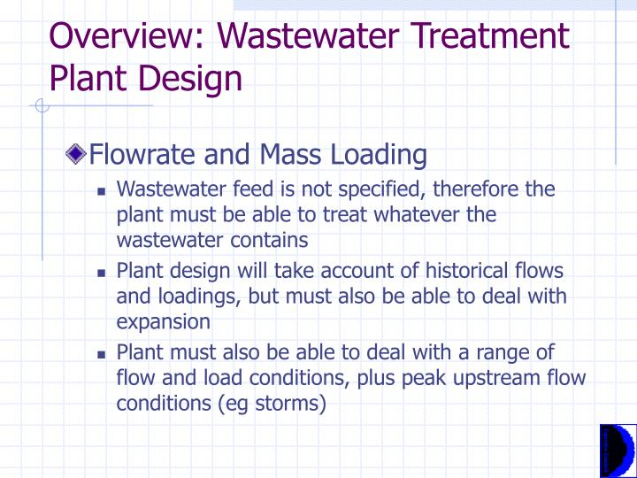 Overview: Wastewater Treatment Plant Design