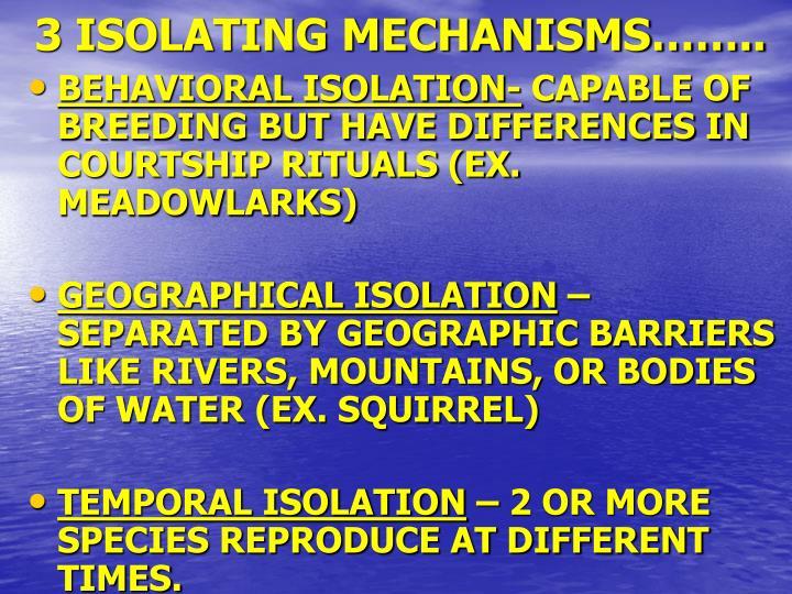 3 ISOLATING MECHANISMS……..