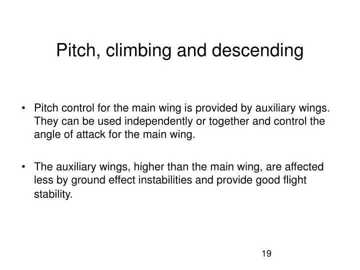 Pitch, climbing and descending