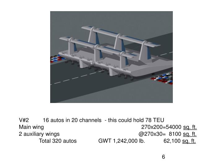 V#2         16 autos in 20 channels  - this could hold 78 TEU