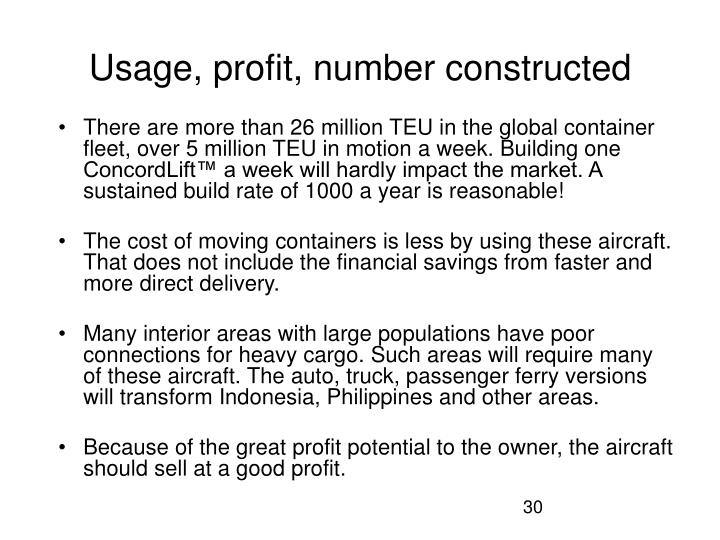 Usage, profit, number constructed