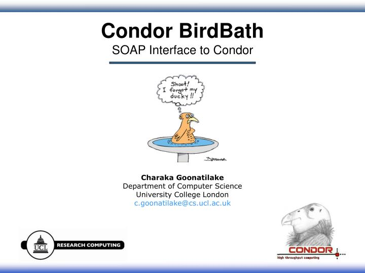 condor birdbath soap interface to condor