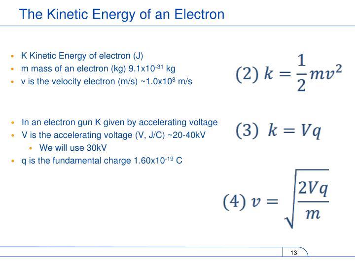 K Kinetic Energy of electron (J)