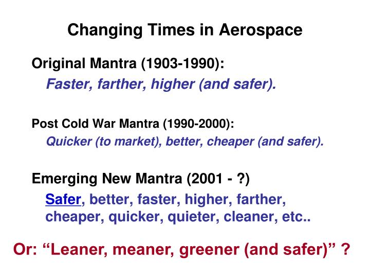 Changing Times in Aerospace