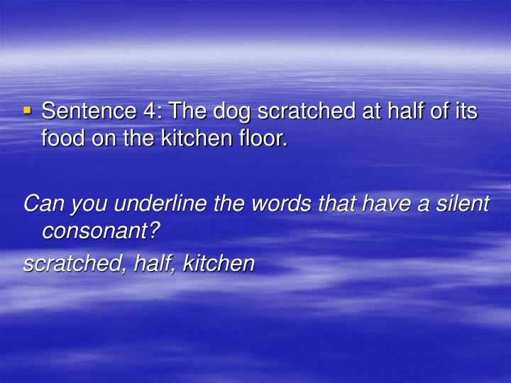 Sentence 4: The dog scratched at half of its food on the kitchen floor.