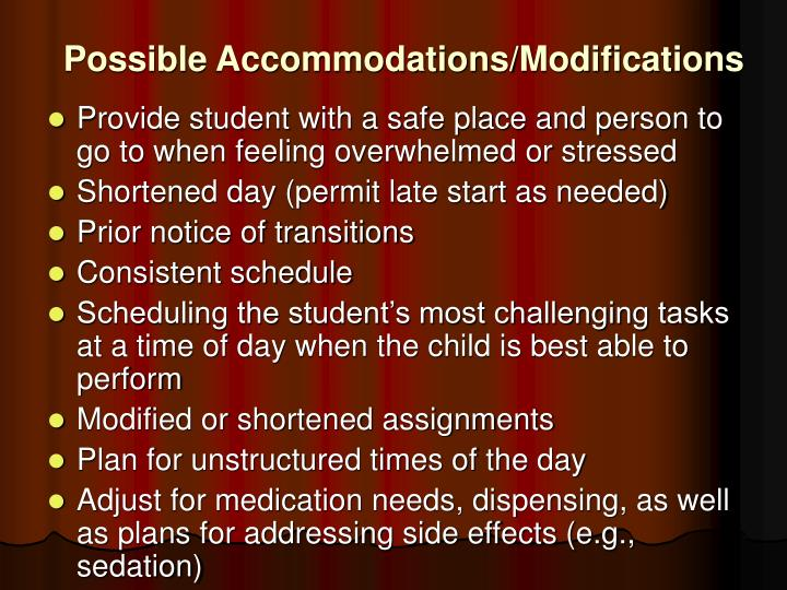 Possible Accommodations/Modifications