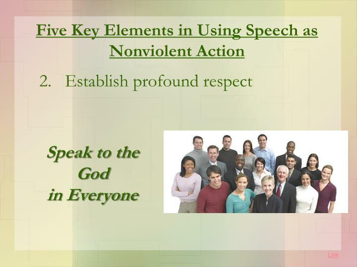 Five Key Elements in Using Speech as Nonviolent Action