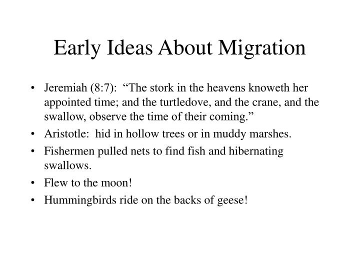 Early Ideas About Migration