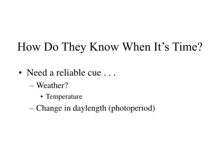 How Do They Know When It's Time?