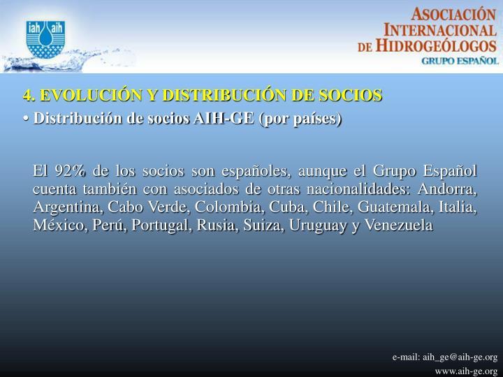 4. EVOLUCIÓN Y DISTRIBUCIÓN DE SOCIOS