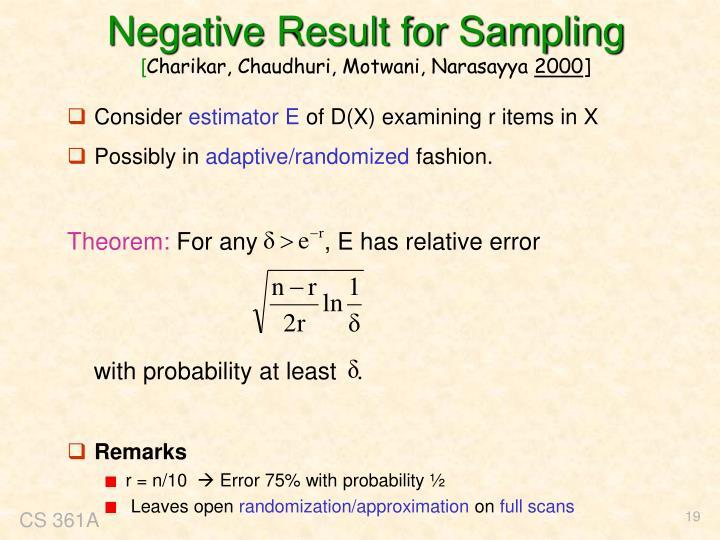 Negative Result for Sampling