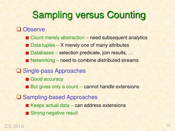 Sampling versus Counting