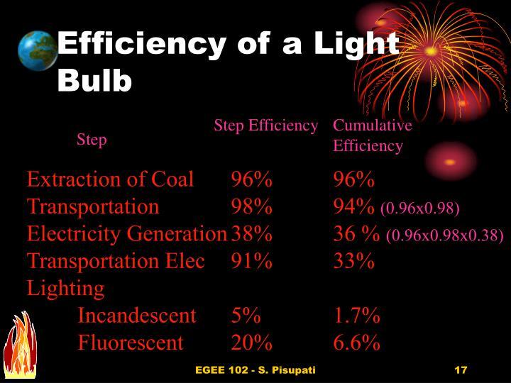 Efficiency of a Light Bulb