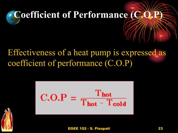 Coefficient of Performance (C.O.P)