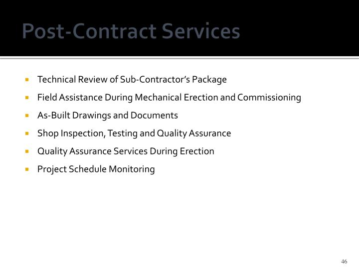 Post-Contract Services