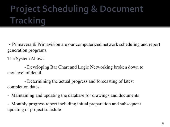 Project Scheduling & Document Tracking